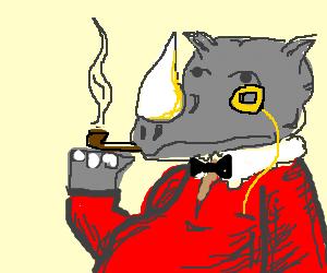 Rhino contemplates life like a sir