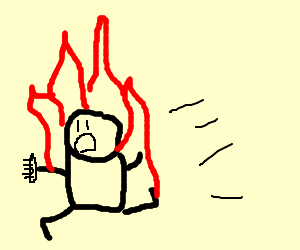 Man with comb on fire