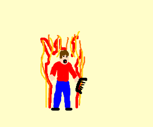 Flaming man with a comb