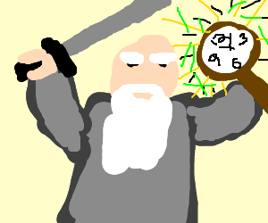 hermit travels in time fight with sword