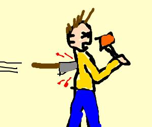 Man backstabbed while eating Jell-O