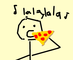Man sings while eating giant pizza slice