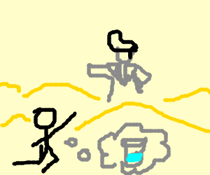 Thirsty man see's Elvis in desert mirage