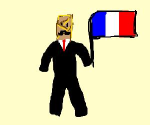 French stick pretzel wearing a suit?