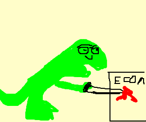 Dinosaur stabs economics notebook