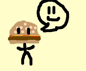 Hamburgerman is very happy