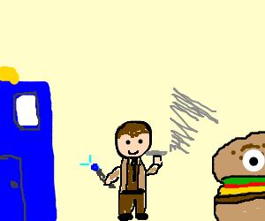 The 10th doctor as smoking cheeseburger