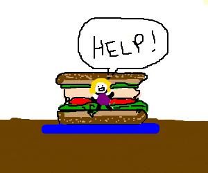 Girl inside of sandwich asking for help!