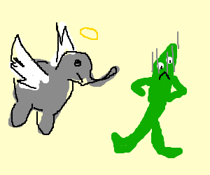 Angel elephants and angry Gumby.