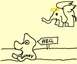 angel elephant watches gumpy go to hell