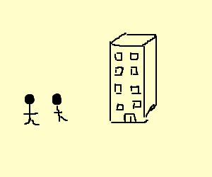 Two stick men and a building.