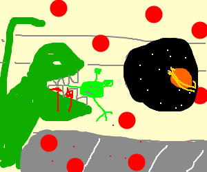 Reptar eats an alien in a vaginal ufo