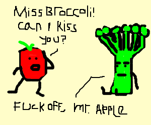 An apple wants to kiss a broccoli