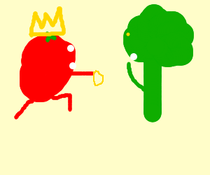 Tomato King engages to broccoli tree