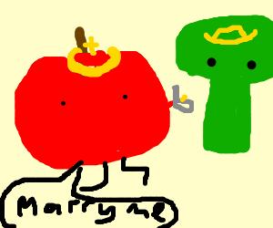 King Apple proposes to Princess Broccoli