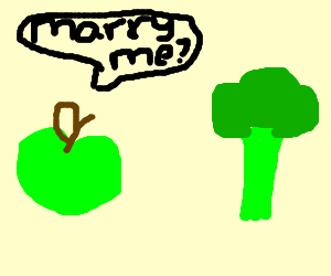 Apple proposing to a broccoli