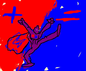 red + blue makes purple man