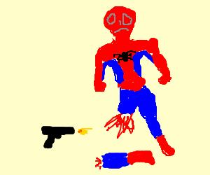 sad spiderman loses legs in gunfight