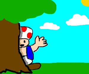 Toad standing behind tree.