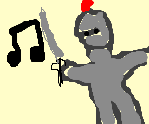 Knight fights against evil music notes