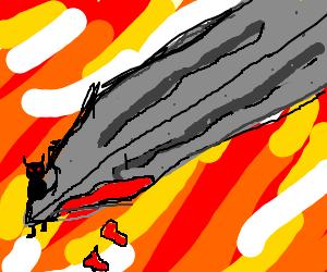 evil mini black demon on edge of sword