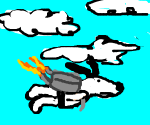Snoopy has what looks like a jetpack