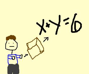 small man throwing a box at an equasion