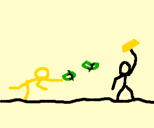 yellow man throws money at gold savior