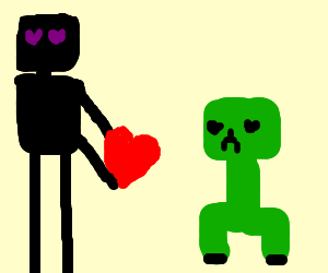 enderman and creeper in love drawception