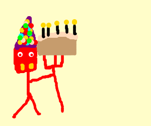 devil in party hat offers cake