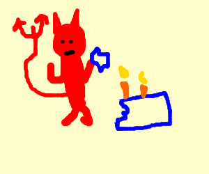 devil attacks a birthday cake