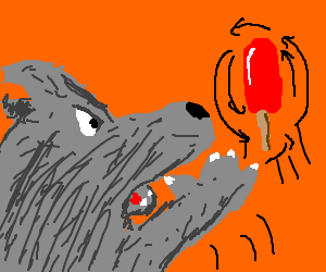 Werewolf throws a strawberry popsicle