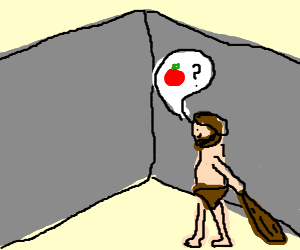 Cave man asks wall where his apple is