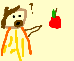 Caveman demands apple from wall