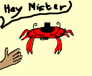 handshake with mister crab