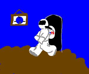 Astronaut explores a blueberry house.