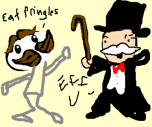 Pringles guy vs Monopoly guy