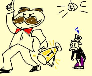 Pringles man beats Monopoly man dancing