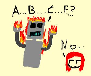 Burning robot learning alphabet