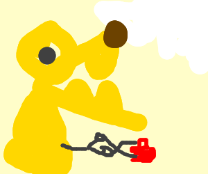 Yellow monster uses scissors on purse