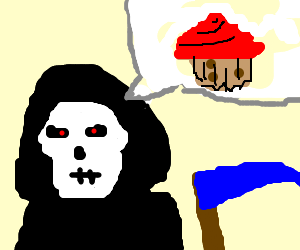 Reaper wants a red frosted muffin