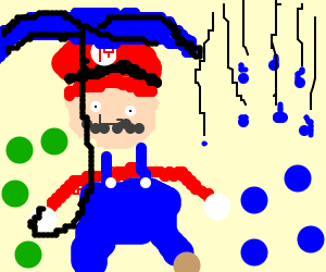Rain is falling on Mario's Blue Balls