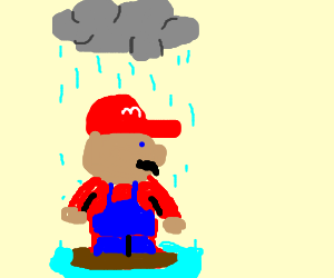 Mario is getting rained on