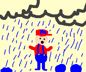 Mario caught in the rain