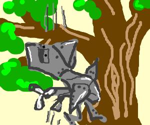 Robot bird falls out of a tree