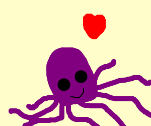 An octopus in love.