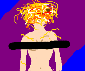 Naked woman wears pasta on head