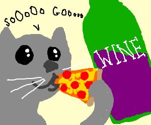 Cat drunk on wine eats pizza