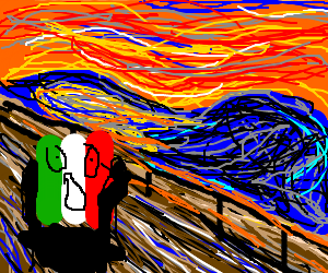 The Italian flag was terrified