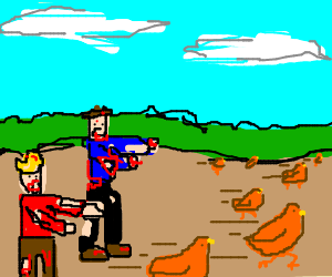 zombies chasing chickens